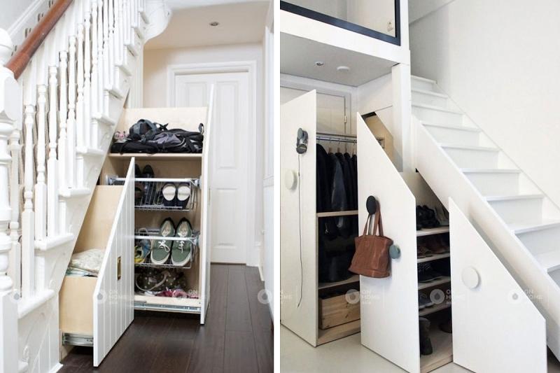 tủ quần áo hiện đại dưới gầm cầu thang
